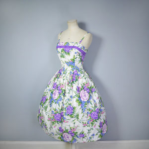 50s FLORAL SUN DRESS AND MATCHING BOLERO IN PURPLE ROSE PRINT - S