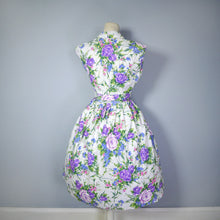 Load image into Gallery viewer, 50s FLORAL SUN DRESS AND MATCHING BOLERO IN PURPLE ROSE PRINT - S