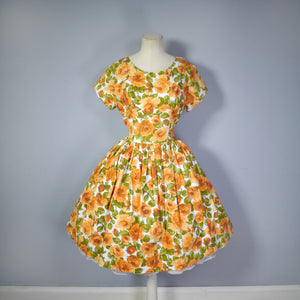 AUTUMNAL ORANGE FLORAL 50s 60s DRESS WITH EMPIRE BUST AND FULL SKIRT - M