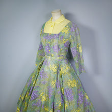 Load image into Gallery viewer, YELLOW AND GREEN 50s SEMI SHEER NYLON CHIFFON FLORAL FULL SKIRT DRESS- M