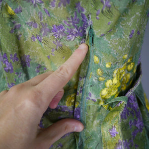 YELLOW AND GREEN 50s SEMI SHEER NYLON CHIFFON FLORAL FULL SKIRT DRESS- M