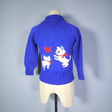 Load image into Gallery viewer, BLUE 50s COWICHAN CAT AND BUTTERFLY CARDIGAN - XS / PETITE
