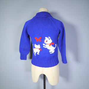 BLUE 50s COWICHAN CAT AND BUTTERFLY CARDIGAN - XS / PETITE
