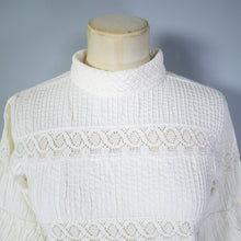 Load image into Gallery viewer, 70s MEXICAN TUNIC TOP IN PINTUCKED COTTON WITH CROCHET LACE - S