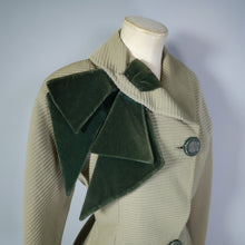 Load image into Gallery viewer, GREEN ASYMMETRIC 50s JACKET WITH VELVET NECK SASH - M