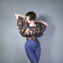 Load image into Gallery viewer, 70s NOVELTY ART DECO COCKTAIL LADIES PRINT CROPPED TIE BLOUSE - M