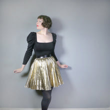 Load image into Gallery viewer, PLEATED METALLIC FOIL GOLD 80s MINI FULL CIRCLE SKIRT - S-M / 26-34""