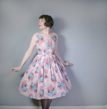 Load image into Gallery viewer, SALLY SLADE BROWN AND BLUE FLORAL ROSE PRINT VINTAGE 50s DRESS - S