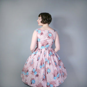 SALLY SLADE BROWN AND BLUE FLORAL ROSE PRINT VINTAGE 50s DRESS - S