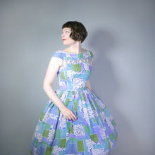 Load image into Gallery viewer, BLUE 50s 60s FULL SKIRTED DRESS WITH CUT OUT NECKLINE - M