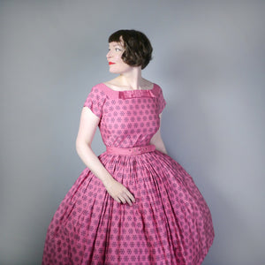 50s PINK HORROCKSES FASHIONS FULL SKIRTED COTTON DRESS - S