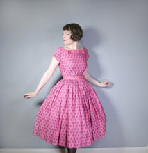Load image into Gallery viewer, 50s PINK HORROCKSES FASHIONS FULL SKIRTED COTTON DRESS - S