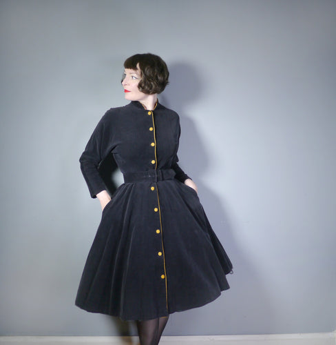 70s does 50s BLACK CORDUROY FULL SKIRTED COAT DRESS - S-M