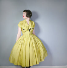 Load image into Gallery viewer, YELLOW AND BLACK 50s HORROCKSES FASHIONS DRESS WITH HUGE SWEEP - S