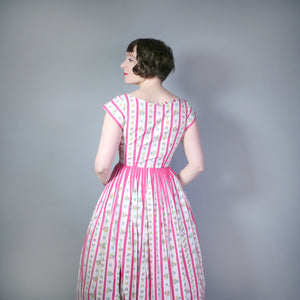 50s LINZI LINE PINK CANDY STRIPE AND FLORAL BUTTON THROUGH DRESS - S