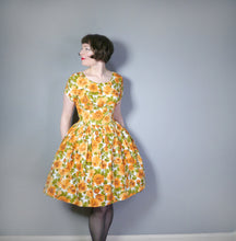 Load image into Gallery viewer, AUTUMNAL ORANGE FLORAL 50s 60s DRESS WITH EMPIRE BUST AND FULL SKIRT - M