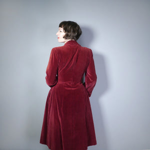 40s DOUBLE ELEVEN UTILITY DARK RED CORDUROY AUTUMN COAT - M