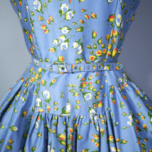 Load image into Gallery viewer, 50s BLUE FULL SKIRTED DRESS BY RODNEY IN RED AND YELLOW FLORAL BUD PRINT - S