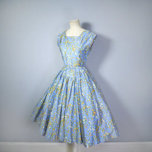 50s BLUE FULL SKIRTED DRESS BY RODNEY IN RED AND YELLOW FLORAL BUD PRINT - S