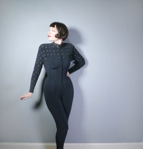 80s BLACK AND GOLD STAR STUDDED CURVE HUGGING CATSUIT / JUMPSUIT - S