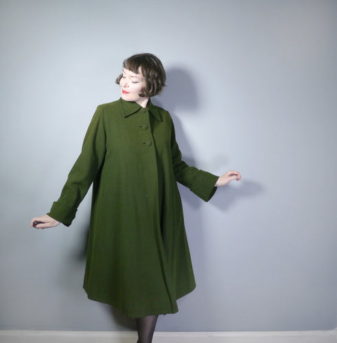 40s MOSS GREEN A-LINED SWING LANDGIRL AUTUMN WINTER COAT - L
