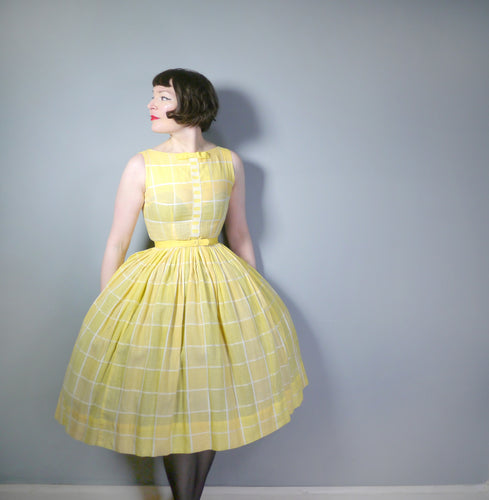 SUNNY YELLOW CHECK 50s 60s FULL SKIRTED DAY DRESS - S