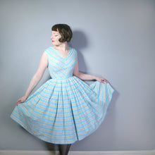 Load image into Gallery viewer, 50s HORROCKSES FASHIONS LIGHT BLUE FLORAL STRIPE FULL SKIRT DRESS - S