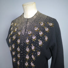 Load image into Gallery viewer, CROPPED VINTAGE GOLD BEADED 50s 60s BLACK WOOL CARDIGAN - S