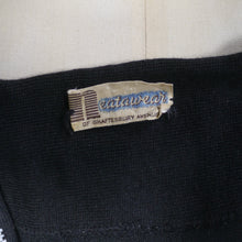 Load image into Gallery viewer, 50s BLACK BEADED FINE SOFT WOOL KNIT SWEATER / JUMPER BY NEATAWEAR - S