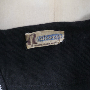 50s BLACK BEADED FINE SOFT WOOL KNIT SWEATER / JUMPER BY NEATAWEAR - S