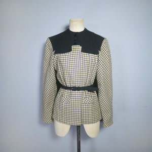 40s VINTAGE YELLOW AND BLACK CHECK AUTUMNAL JACKET WITH BELT - XS-S