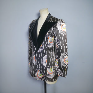 70s TUXEDO NOVELTY PRINT ART DECO STYLE GLAM JACKET - POSSIBLY MISS MOUSE - XS