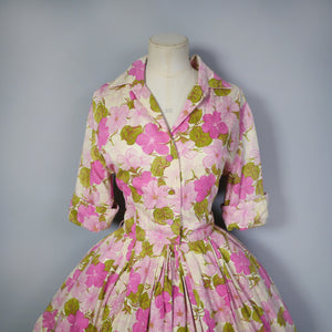 VINTAGE 50s PINK FLORAL SHIRTWAISTER WITH FULL SKIRT - S