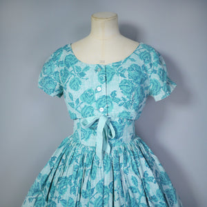 50s HORROCKSES FASHIONS GREEN PIXILATED FLORAL PRINT SUN DRESS AND BOLERO - S