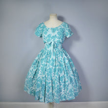 Load image into Gallery viewer, 50s HORROCKSES FASHIONS GREEN PIXILATED FLORAL PRINT SUN DRESS AND BOLERO - S