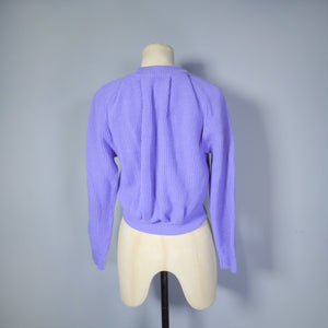 50s SWEATER GIRL PERFECTION CROPPED JANTZEN LAVENDER RIBBED JUMPER - XS-S