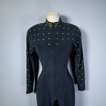 Load image into Gallery viewer, 80s BLACK AND GOLD STAR STUDDED CURVE HUGGING CATSUIT / JUMPSUIT - S