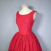 Load image into Gallery viewer, 50s 60s BRIGHT RED FESTIVE FULL SKIRT DRESS WITH DEEP PLUNGING SCOOP BACK - XS-S