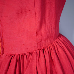 50s 60s BRIGHT RED FESTIVE FULL SKIRT DRESS WITH DEEP PLUNGING SCOOP BACK - XS-S