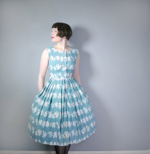 50s ST MICHAEL SHIRTWAISTER DRESS IN TEAL WITH WHITE SILHOUETTE FLOWER PRINT - S