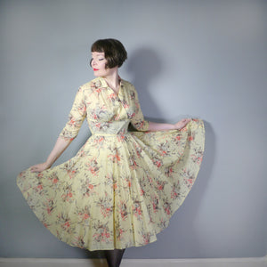 50s VICTOR JOSSELYN SOFT YELLOW FLORAL NYLON DRESS WITH PLEATED FULL SKIRT - M