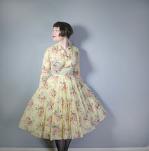 Load image into Gallery viewer, 50s VICTOR JOSSELYN SOFT YELLOW FLORAL NYLON DRESS WITH PLEATED FULL SKIRT - M