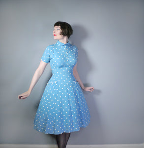 BLUE WHITE POLKA DOT FIT AND FLARE 50s DRESS WITH PETER PAN COLLAR - S