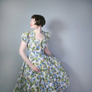 "50s NOVELTY PRINT ""SILGRENE"" DRESS WITH PUFF SLEEVES AND FULL CIRCLE SKIRT - S"