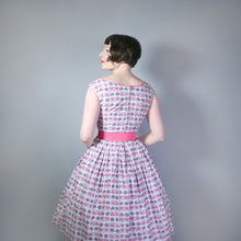 Load image into Gallery viewer, GREY AND PINK 50s VINTAGE NORMAN YOUNG FULL SKIRTED DRESS - S