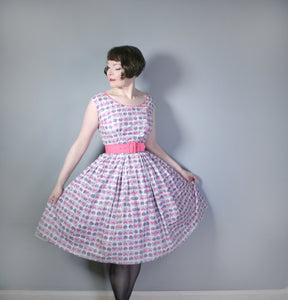 GREY AND PINK 50s VINTAGE NORMAN YOUNG FULL SKIRTED DRESS - S