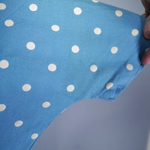 Load image into Gallery viewer, BLUE WHITE POLKA DOT FIT AND FLARE 50s DRESS WITH PETER PAN COLLAR - S