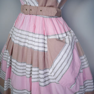 50s PINK, BROWN AND WHITE STRIPED COTTON DAY DRESS WITH POCKET AND BELT - S-M