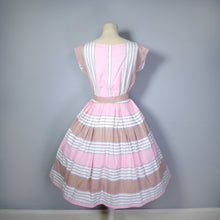 Load image into Gallery viewer, 50s PINK, BROWN AND WHITE STRIPED COTTON DAY DRESS WITH POCKET AND BELT - S-M