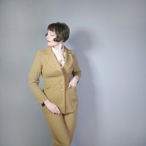 70s LIGHT BROWN 2 PIECE HIGH WAISTED TROUSER MOD / DANDY SUIT BY TREVIRA - S